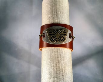Leather Cuff with Butterfly Connector
