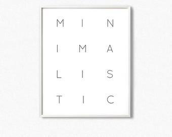 Minimalistic print, minimalistic wall art, minimalist typography print, scandinavian wall art, words print