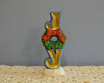 Hand Painted Ceramic Christmas JOY stacked letters