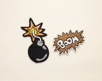 Bomb patch - iron on patch, backpack patch, embroidered patch, explode patch, boom, patch embroidery