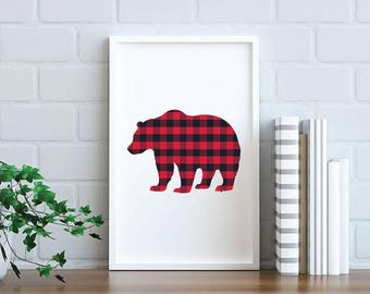 Bear Buffalo Plaid - 8x10 Bear Printable, Bear Print, Bear Wall Art, 8x10 Printable, Buffalo Plaid Print, Nursery Printable, nursery art