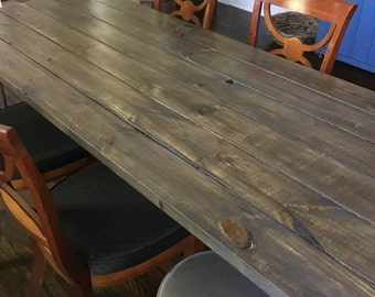8' Rustic Table w/ Steel Hairpin Legs