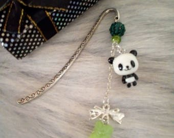 Panda and pastel green realistic candy sold bookmark