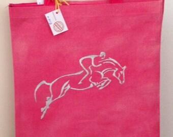 Handmade and Handpainted showjumper bag pienk