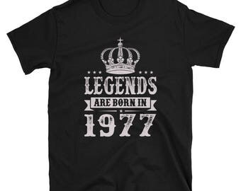Legends Are Born In 1977 Birthday Mens Unisex T-Shirt