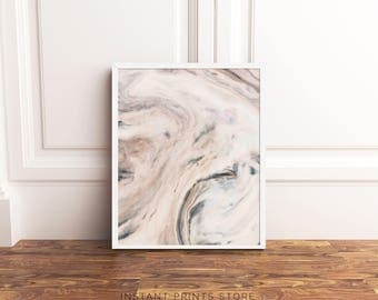 Beige Cream Marble Print Abstract Modern Art Printable Poster Artwork Contemporary Downloadable Home Wall Decor