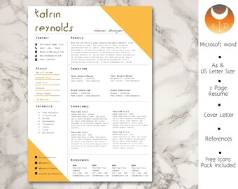 Resume Template • Modern & Professional Resume Template for Word • CV Resume + Cover Letter + Ref •  Instant Download Resume • 2 Page Resume