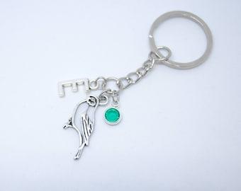 Sparrow keyring, dove keychain, bird bag charm, personalized keyring, zipper pull, custom keyring, custom keychain, birthstone keychain