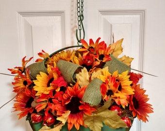 Green Tin Basket w/ optional hanger, Sunflowers, Black Eyed Susans, Pomegranates, Yellow, Green, Orange, Summer Decor, Fall Decor, Wreath