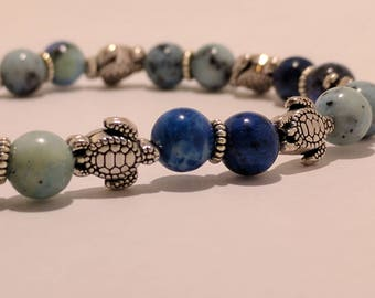 Under the Sea Silver Plated Turtles with Ocean Jasper Gemstone Bead Bracelet