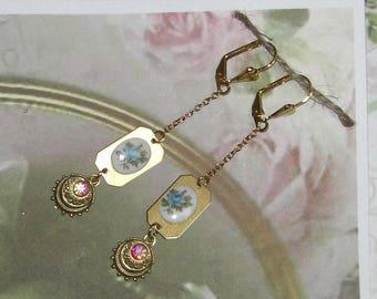 Earrings with vintage blue ROSE