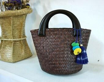 Straw Bag PomPom, Top Handles Bag Thai Weaving Seagrass (Krajood) Wood Handles