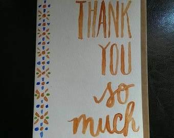 Thank You So Much Watercolor Greeting Card