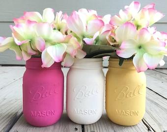Mason Jar Decor, Painted Mason Jars, Bulk Mason Jars, Custom Made Mason Jars, Vibrant Arrangements, Spring Decor