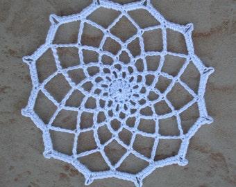 small white round crochet doily