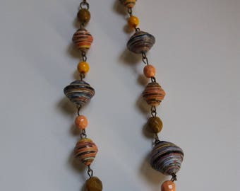 Boho style chain necklace with multicolored paper beads and glass beads