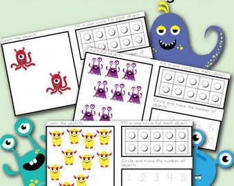 Ten Frame Counting Activity Mats with Monsters