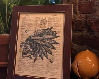 Vintage dictionary print featuring a Skull with Native American Headdress! *FREE Shipping!