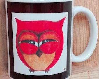 Fun orange OWL printed mug