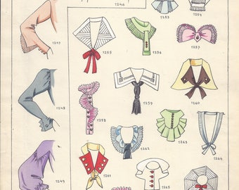 Fashion Plate:  Ete 1937.  Beautiful graphic of sleeve and collar styles for 1937.  Original page from Fashion Magazine