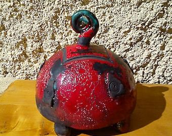 Ball box, secret box, enameled red Raku