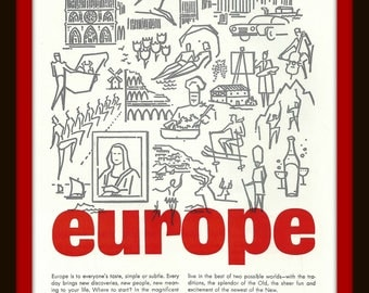 1960s Europe Travel - Canadian Mounties - VINTAGE AD - RCMP - Canada - European Travel - Sights - Tourism - Horses - Travel - Retro