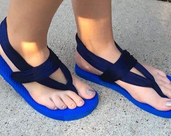 Blue flip flop yoga sandals women's M