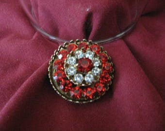 Vintage CORO  Red and Clear Rhinestones Brooch