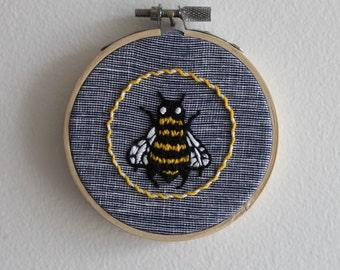 Bee Embroidery Hoop Art