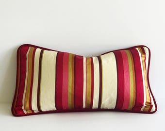 Colorful Satin Striped Lumbar Pillow Cover