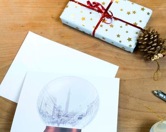Newcastle Monument Snow Globe Christmas Card