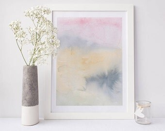 Printable abstract art, watercolour wall art, rainbow print, pink watercolor print, watercolor art, abstract art, abstract watercolor art