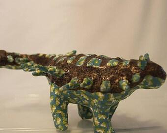 Paper mache ankylosaurus