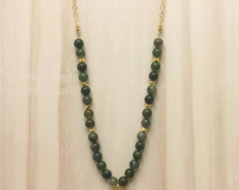 Green Moss Agate Gemstone and Gold Chain Beaded Necklace with Gold Longhorn Skull Pendant