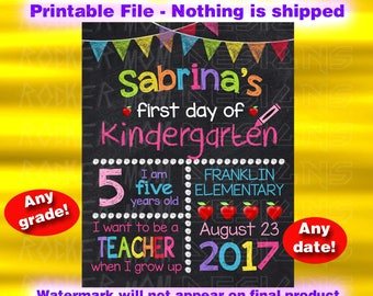 First Day Of School Chalkboard Sign, Back To School Sign, First Day Of School Sign, Signs, Kindergarten Sign, Printable Sign, Preschool