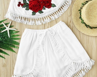 Rose Applique White Crochet Top with Shorts
