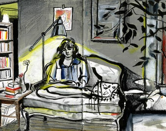 A Woman in Her Living Room ~ giclee print