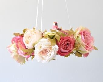 Flower mobile, Floral mobile, Floral Chandelier, bird, decoration, Nursery Mobile,Rose Baby Gift, Wedding chandelier