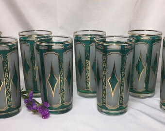 Retro Teal and Gold Tumblers Drinking Glasses -set of 8