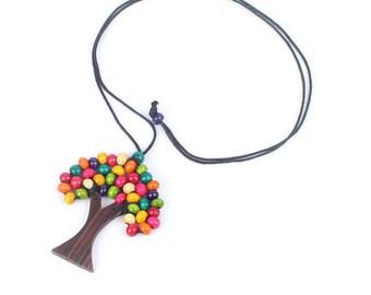 Wooden Boho Ethnic Tree Of Life Coloured Pendant
