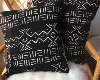 """Amazing Antiqued African Mudcloth Hand Stitched Black & White Pillow Cover - 20"""" x 20"""" - 25"""" x 25"""" - also available"""