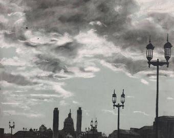 "Matted Fine Art Print ""Capital Silhouette"""