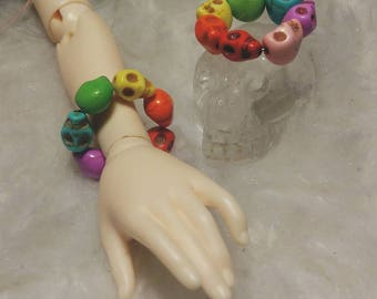 Rainbow Sugar Skulls Halloween Crystal Beads BJD MSD Minifee Unoa Stone Jewelry Bracelet Accessories
