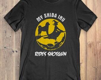 Shiba Inu Custom Dog Halloween T-shirt: My Shiba Inu Rides Shotgun