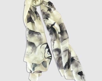 Black and White Hand painted silk scarf