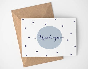 Blue Polka Dots Thank You Card | Any Occasion - Gold - Thank you cards - Simple - Thanks - Thank You - Greeting Cards