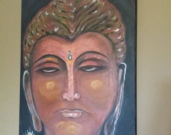 Buddha Meditation Acrylic Painting Wall Art Original Made to Order Living Room Decor