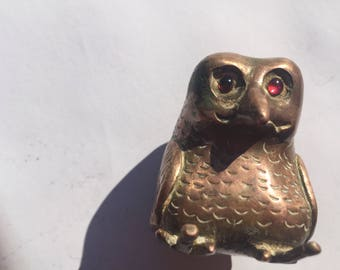Antique Indian Owl Statue with Ruby Eyes