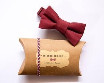 Kids red wine cotton bowtie adjustable / bow tie