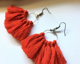 Earrings tassel earrings, red & silver tassel pom pom pom pom crochet black earrings